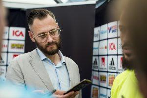 Olof Lundh, TV4 och Fotbollskanalen, utsågs till Årets Sportjournalist 2015. Foto: Bildbyrån
